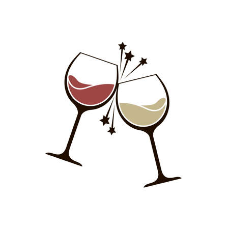 illustration of two glasses with red and white wine 일러스트