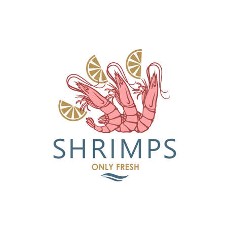 label of fresh shrimps and lemon isolated on white background