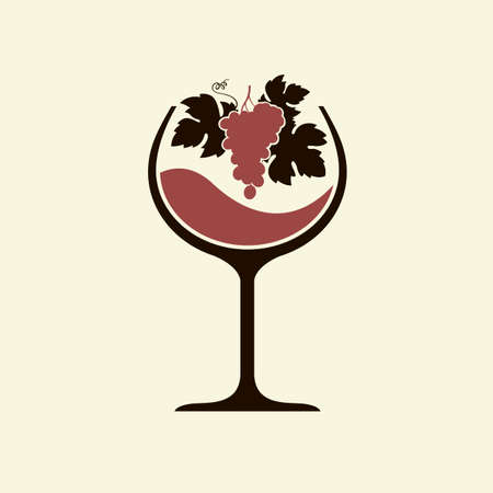 red wine glass emblem with bunch of grapes isolated 일러스트