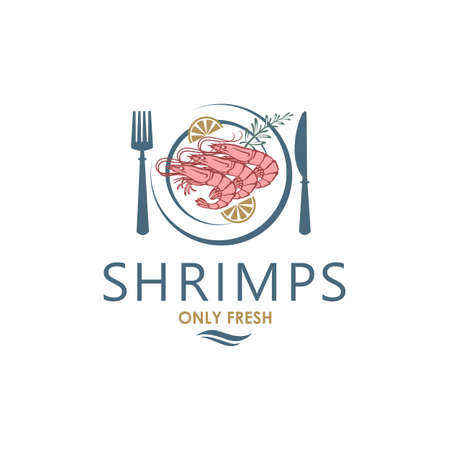label of fresh shrimps on plate isolated on white background