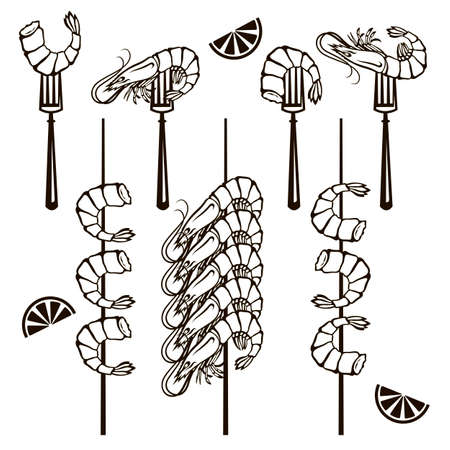 collection of grilled shrimps on fork and skewer isolated 일러스트