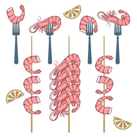 collection of grilled shrimps on fork and skewer isolated Иллюстрация