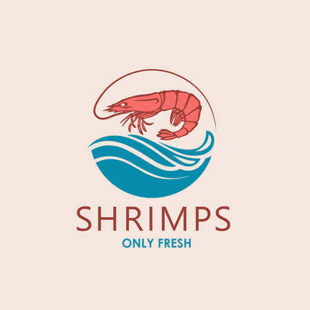 label of fresh shrimp and sea waves isolated