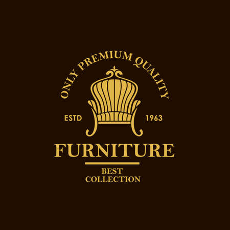 soft furniture label with armchair isolated on black background Иллюстрация
