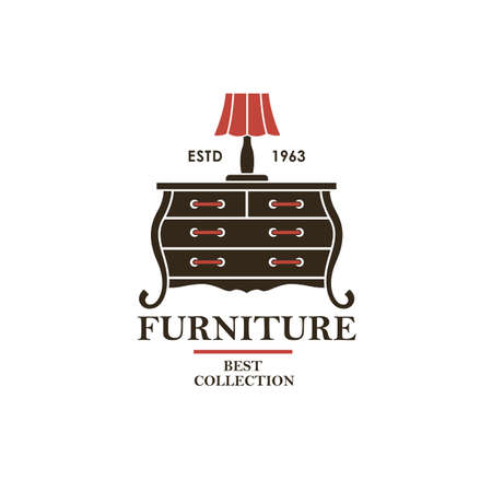 cabinet furniture label with vintage commode isolated on white background