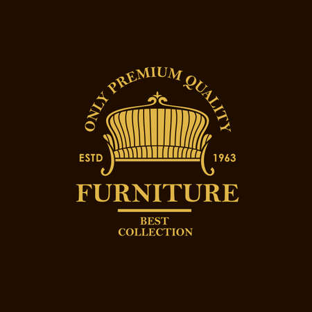 soft furniture label with sofa isolated on black background