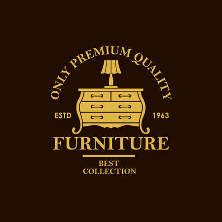 cabinet furniture label with vintage commode isolated on black background