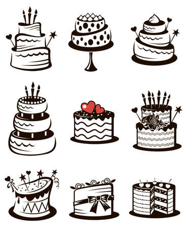 monochrome collection of various cakes isolated on white background Векторная Иллюстрация