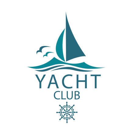 yacht icons with sea waves and seagulls isolated on white background