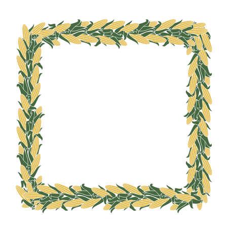 decorative corncob frame pattern isolated on white background