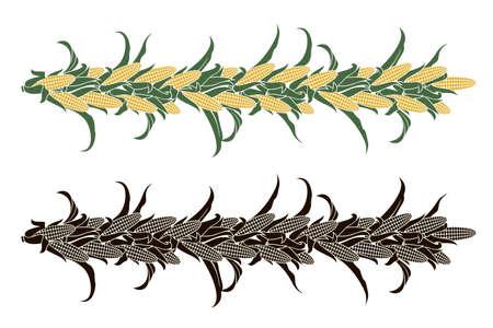 decorative corncob pattern set isolated on white background