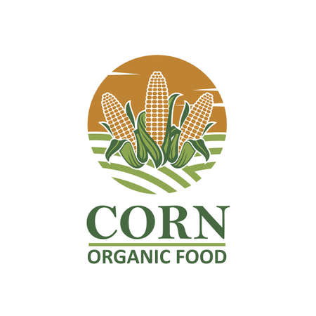 Sweet corncob label isolated on white