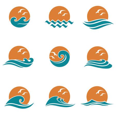 abstract collection of sun and sea icons with seagulls isolated on white background 向量圖像
