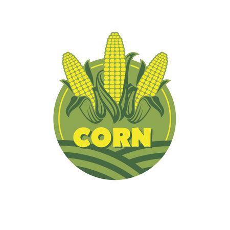 sweet corncob label isolated on white background