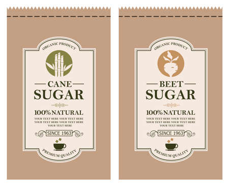 cane and beet sugar labels for paper package isolated on white background 向量圖像
