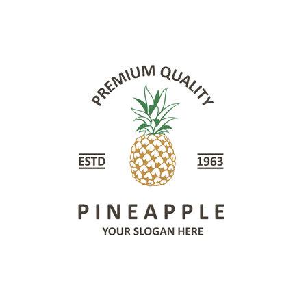 emblem of pineapple tropical fruit isolated on white background