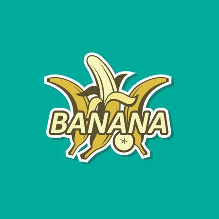 emblem of banana tropical fruit isolated on green background