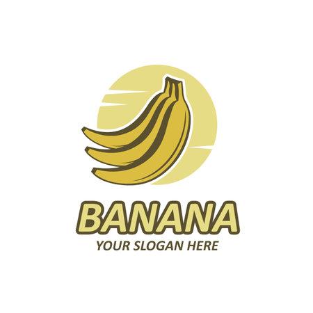 emblem of banana tropical fruit isolated on white background 向量圖像