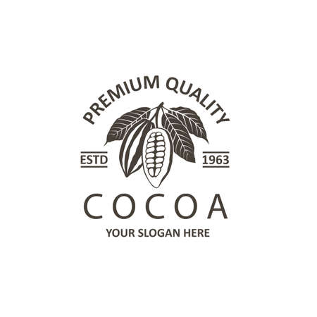 label of cocoa beans isolated on white background 向量圖像