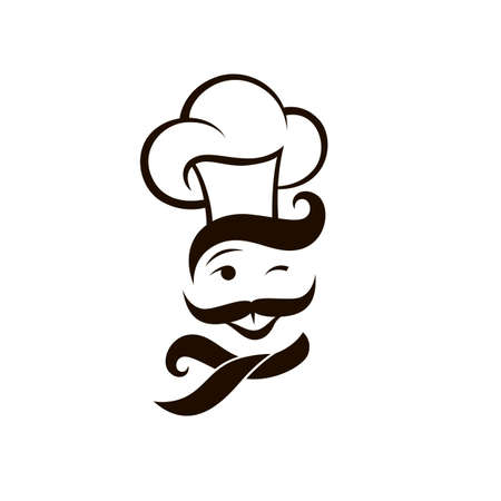 moustached chef man icon isolated on white background