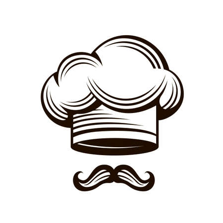 image of chef hat and mustache isolated on white background