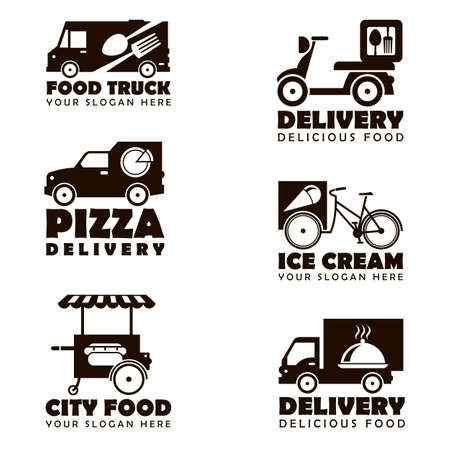 collection of street food transport emblems isolated on white background