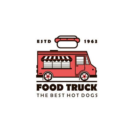 street food hot dog truck emblem isolated on white background
