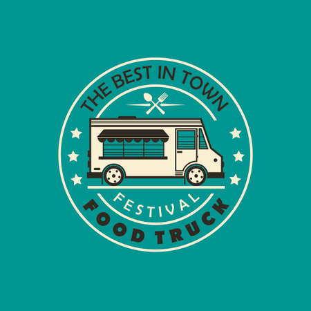 street food truck emblem isolated on green background