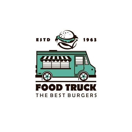 street food burger truck emblem isolated on white background 向量圖像