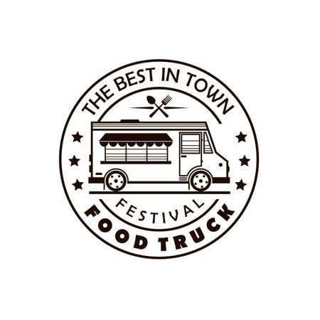 street food truck emblem isolated on white background 向量圖像