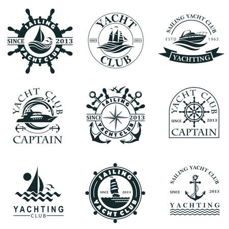 collection of yacht club labels with sea waves, anchor and helm isolated on white background 向量圖像
