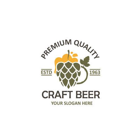 label of beer glass and hops isolated on white background