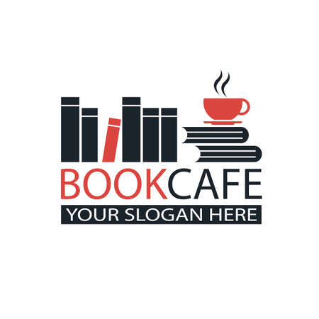 literary cafe emblem with books and cup isolated on white background