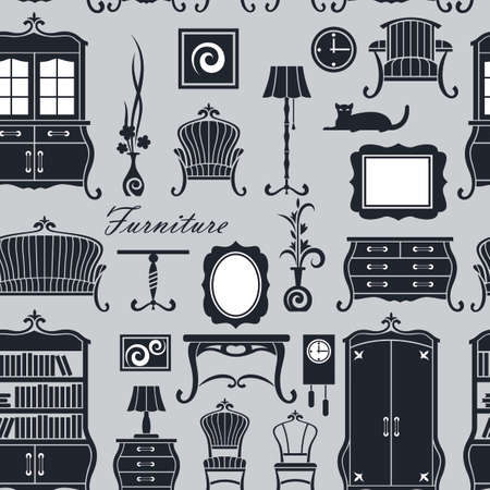 seamless pattern of vintage home interior with soft and cabinet furniture Vektorové ilustrace