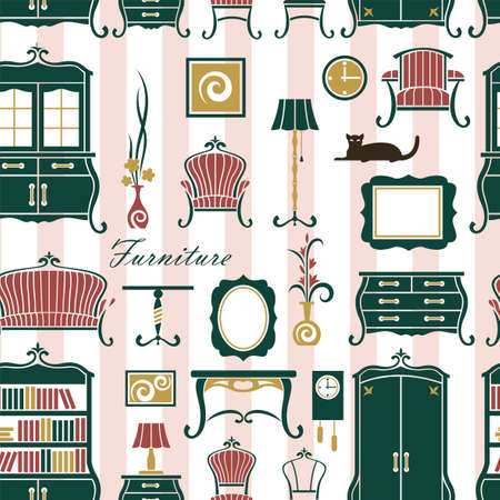 seamless pattern of vintage home interior with soft and cabinet furniture