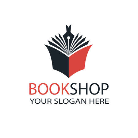 book store emblem with open book and pen isolated on white background