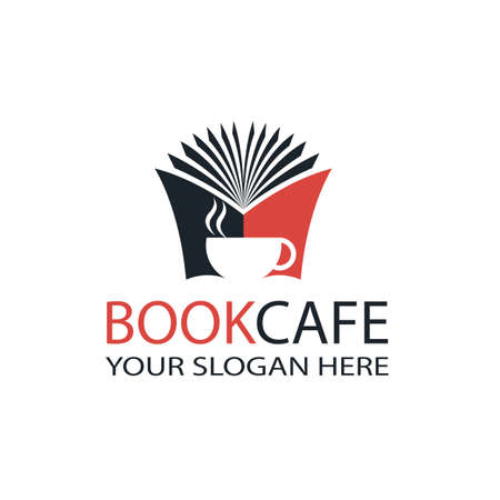 literary cafe emblem with open book and cup isolated on white background
