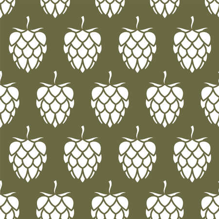 seamless pattern of hop for brewing on green background Vettoriali