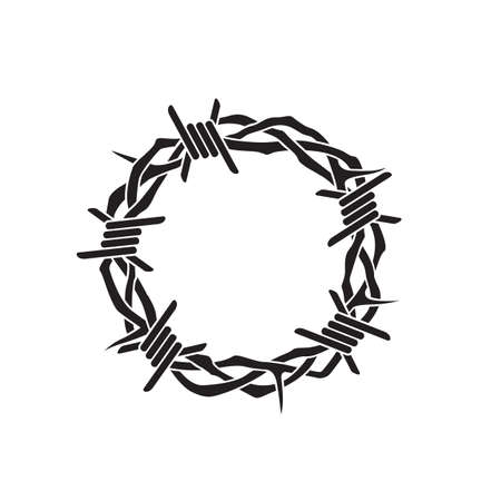 jesus thorn crown with barbed wire isolated on white background Vektoros illusztráció
