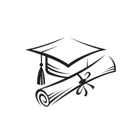 illustration of graduation cap and rolled diploma isolated on white background