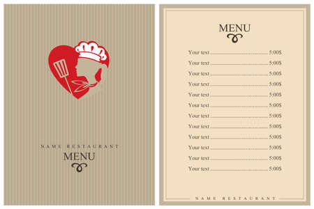 template restaurant menu design with lady chef and heart