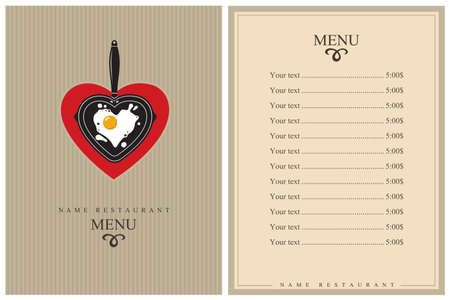 restaurant menu design with cooking process of fried egg on pan Векторная Иллюстрация