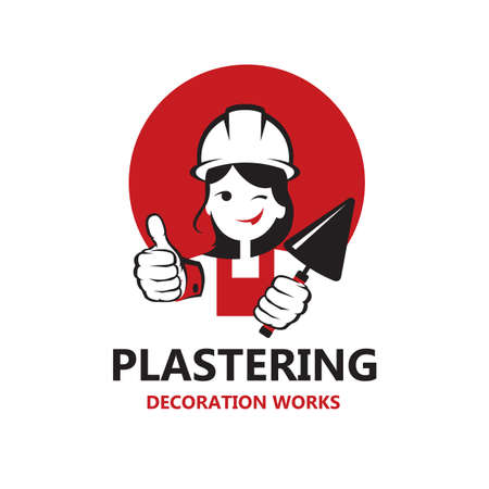 icon of lady plasterer in safety helmet with trowel in hand isolated on white background Vector Illustratie