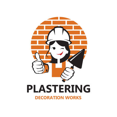 icon of lady plasterer in safety helmet with trowel in hand isolated on white background