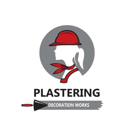 icon of lady plasterer in safety helmet with trowel isolated on white background Vector Illustratie