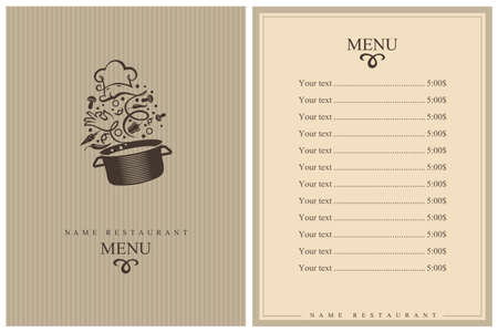 restaurant menu design with cooking process of vegetables on pan Vetores