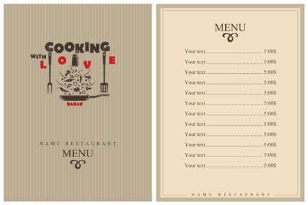 template restaurant menu design with cooking kitchen utensils