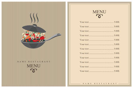 restaurant menu design with cooking process of vegetables on pan