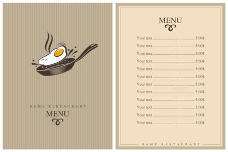 restaurant menu design with cooking process of fried egg on pan