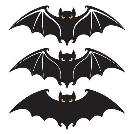 collection of black halloween bats design isolated on white background